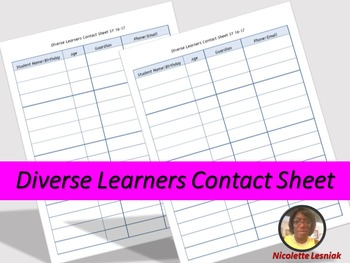 Diverse Learners Contact Sheet