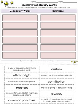 Diversity: Common Principles Vocabulary Words Cut and Paste Activity