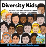 Diversity Kids Faces Clip Art for Personal and Commercial Use