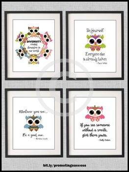 Owl Theme Classroom Decor, Inspirational Quotes, Back to School Posters