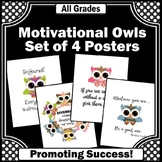Owl Classroom Theme Decor, Back to School Motivational Quote Posters