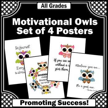 Owls Classroom Decor Set of 4 Posters Motivational Quotes