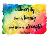Diversity Poster: Motivational Angelou Quote on Rainbow Wa