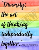 Diversity Poster: Motivational Quote on Rainbow- Printable