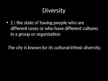 Diversity:  definition, sample sentences and images