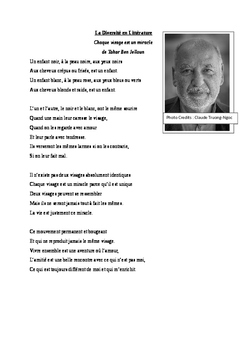 Diversity in French literature - a poem by Tahar Ben Jelloun