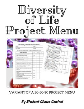 Diversity of Life Project Menu