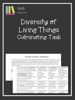 Diversity of Living Things - Culminating Task