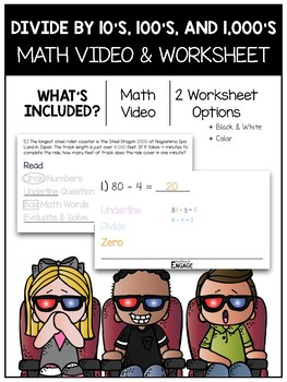 Divide 10's, 100's, and 1,000's Using the Zeros Trick Math Video and Worksheet