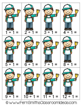3rd Grade Go Math 6.9 Divide By One Center Games and Printables