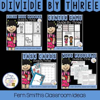 Divide By Three Task Cards, Centers, Color By Number, Word