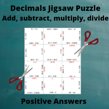 Divide Decimals : Division Puzzle with All Positive Answers