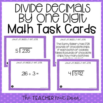 Divide Decimals by One Digit Divisors Task Cards for 5th Grade