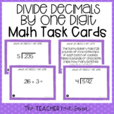 5th Grade Divide Decimals by One Digit Divisors Task Cards