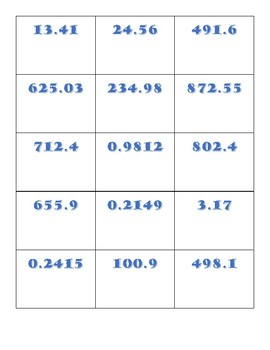 Divide Decimals by Powers of 10 Freeze Game