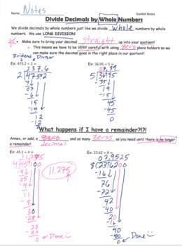 Divide Decimals by WHOLE Numbers GUIDED NOTES