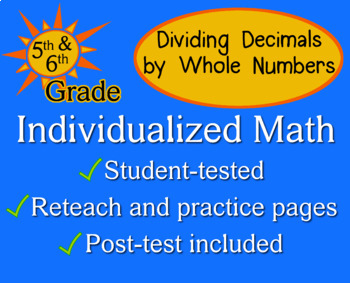 Divide Decimals by Whole Numbers, 5/6th grade - worksheets - Individualized Math