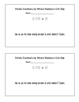 Divide Decimals by Whole Numbers Exit Slip