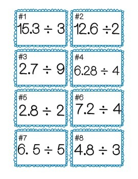Divide Decimals by Whole Numbers Task Cards