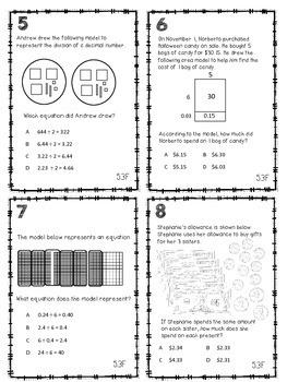 Divide Decimlas with Models Task Cards TEKS 5.3F