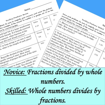Divide Fraction Word Problems Differentiated Color by Answer Fun Pages