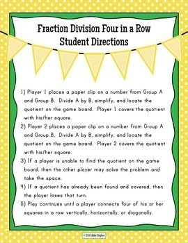Dividing Fractions Game 4 In A Row Partner Game with 3 Differentiated Levels