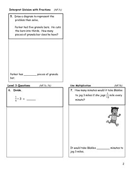 Divide Fractions Assessment - 5th Grade