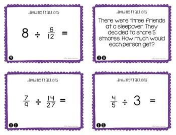 Divide Fractions Task Cards for 5th Grade