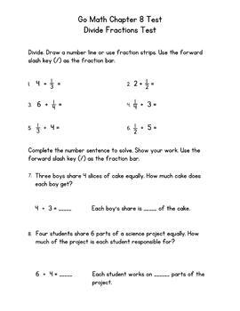 Divide Fractions Test - Go Math 5th Grade Chapter 8