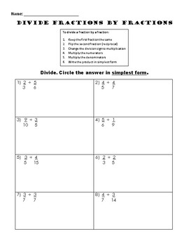 Divide Fractions by Fractions Practice