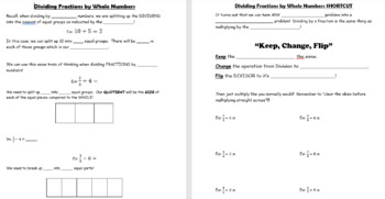 Divide Fractions by Whole Numbers - GUIDED NOTES