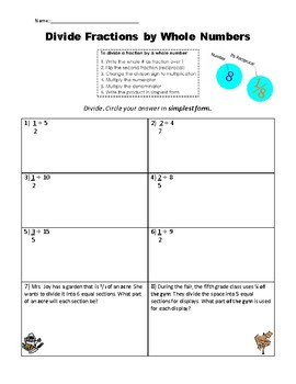 Divide Fractions by Whole Numbers Practice