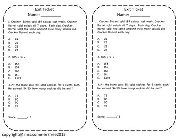 Divide Large Numbers Task Cards with Performance Tasks and Exit Slips