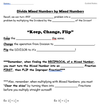 Divide Mixed Numbers GUIDED NOTES
