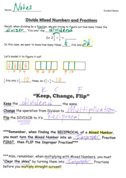 Divide Mixed Numbers by Fractions GUIDED NOTES