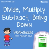 Divide, Multiply, Subtract, Bring Down Standard Long Division Algorithm Sheets
