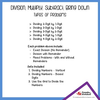 Divide, Multiply, Subtract, Bring Down Standard Long Division Algorithm Sheets