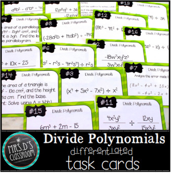 Divide Polynomial Differentiated Task Cards