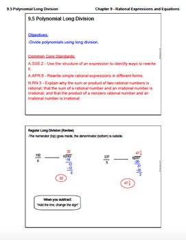 Polynomial Long Division (Lesson Plan with Homework)