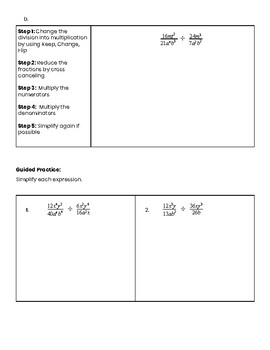 Divide Rational Expressions Guided Notes (monomials)