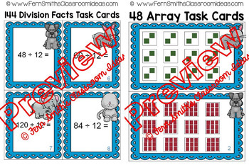 3rd Grade Go Math Chapter Seven Division Facts and Strategies Task Card Bundle