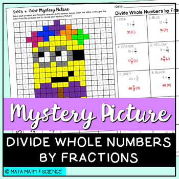 Divide Whole Numbers by Fractions: Mystery Picture (Minion)