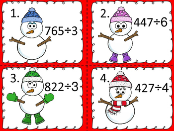 Divide a 3 Digit Number by a 1 Digit Number:  Snowman Theme