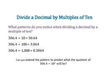 Divide a Decimal by Powers of 10 PowerPoint