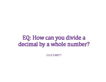 Divide a Decimal by a Whole Number PowerPoint