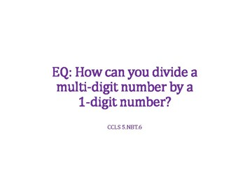 Divide a Multi-Digit Number by 1 Digit Number PowerPoint