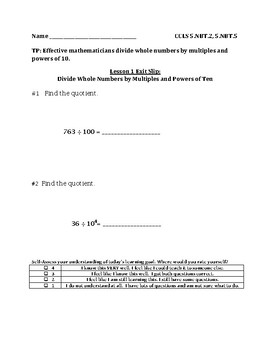 Divide a Whole Number by Multiples of 10, 100, or 1000 Exit Slip