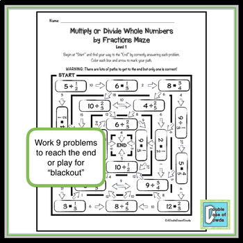 Divide and Multiply Whole Numbers by Fractions Maze 1