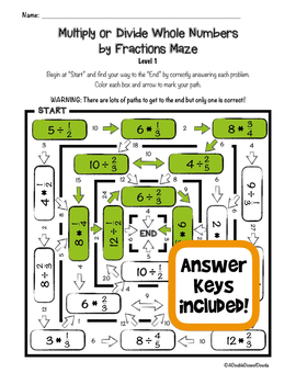 Divide and Multiply Whole Numbers by Fractions Maze Bundle