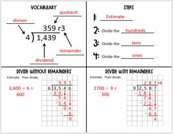 Divide by 1- Digit Divisors (Foldable)